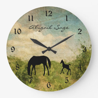 Personalized Beautiful Mare and Foal Horse Large Clock