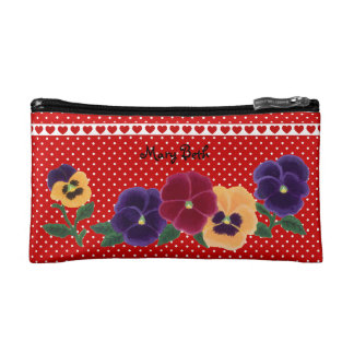 Personalized Beautiful Pansy Flowers Makeup Bag