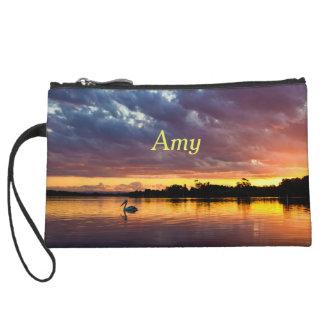 Personalized Beautiful Sunset Over Lake Wristlet