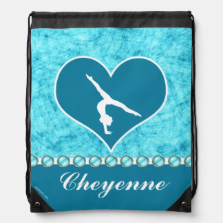 Personalized Beautiful Turquoise Gymnastics Cinch Bags