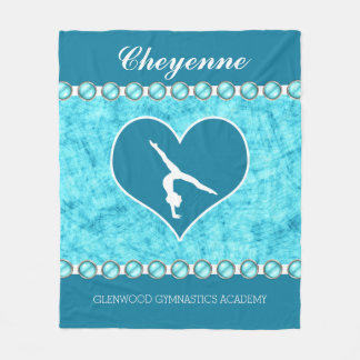 Personalized Beautiful Turquoise Gymnastics Fleece Blanket