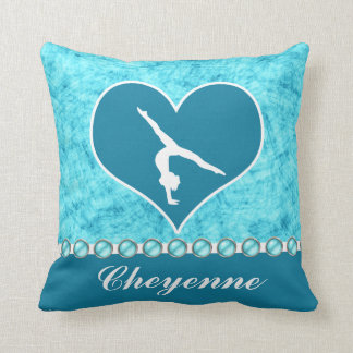 Personalized Beautiful Turquoise Gymnastics Throw Pillow