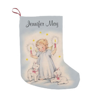 Personalized Beautiful Vintage Angel with Lambs Small Christmas Stocking