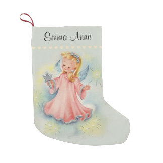 Personalized Beautiful Vintage Girl Angel Small Christmas Stocking