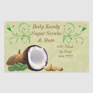 Personalized Beauty Business Coconut Scroll Label