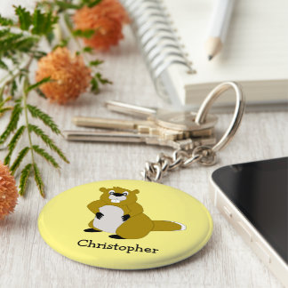Personalized Beaver Design Keychain