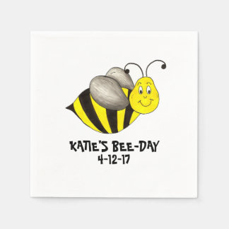 Personalized Bee Day Bees Bumblebee Birthday Party Paper Napkin