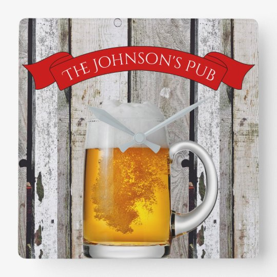 "Personalized Beer Stein & ""(Your Name) Pub"" Wall Clocks"