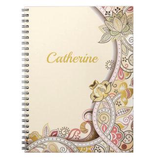 Personalized Beige Floral Side Frame Pattern Notebook