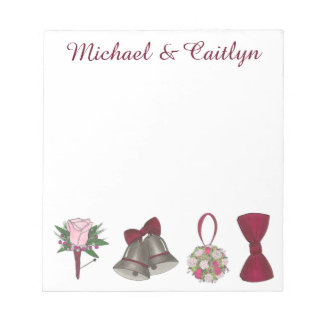 Personalized Bells Flowers Wedding Favor Notepads