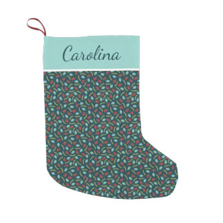 Personalized Berries and Pine Small Christmas Stocking