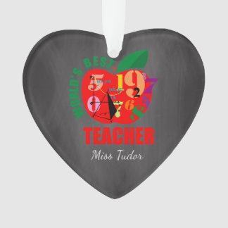 Personalized Best Teacher Chalkboard Apple Gift Ornament