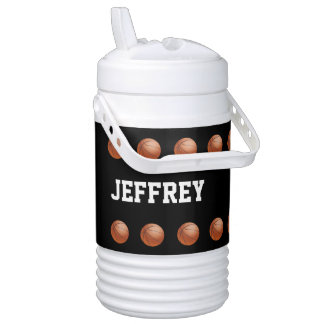 Personalized Beverage Cooler Basketball Black