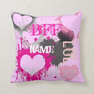 Personalized BFF best friends forever pink Throw Pillow