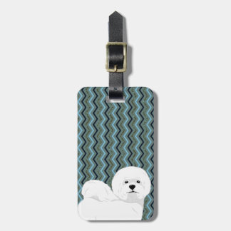 Personalized Bichon Frise - Sage Blue Navy Chevron Luggage Tag