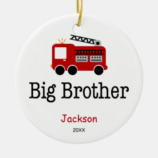 Personalized Big Brother Red Fire Truck Round Ceramic Ornament