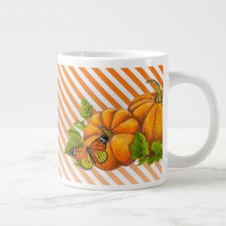 Personalized Big Coffee Mug with Pumpkin & Stripes