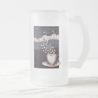 Personalized Big  Frosted Glass Mug Vienna Coffee