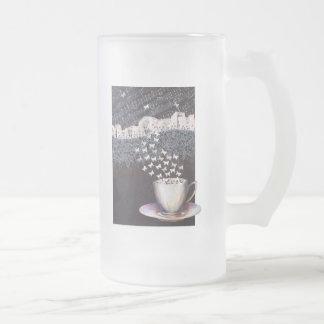 Personalized Big  Frosted Glass Mug Vienna Coffee