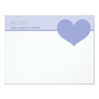 Personalized Big Heart Modern Recipes Cards