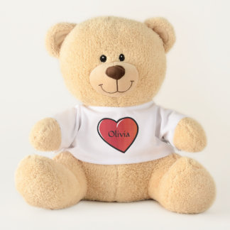 Personalized Big Red Hearts On White Teddy Bear