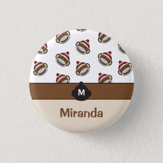 Personalized Big Smile Sock Monkey Emoji 1 Inch Round Button