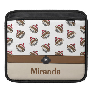 Personalized Big Smile Sock Monkey Emoji iPad Sleeve