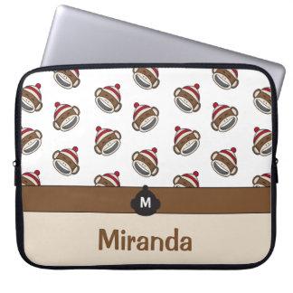 Personalized Big Smile Sock Monkey Emoji Laptop Sleeve