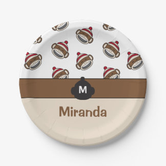 Personalized Big Smile Sock Monkey Emoji Paper Plate
