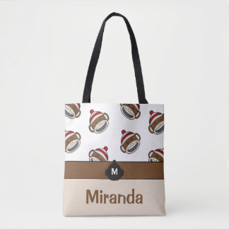 Personalized Big Smile Sock Monkey Emoji Tote Bag