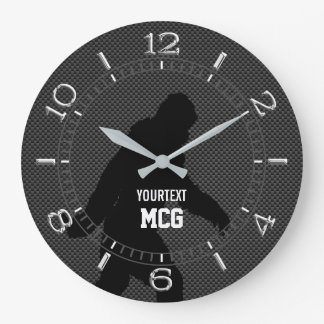 Personalized Bigfoot Black Silhouette Carbon Style Large Clock