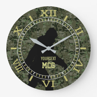 Personalized Bigfoot Sasquatch Camo Style Large Clock
