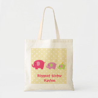 Personalized Biggest Sister Elephants Tote Bag