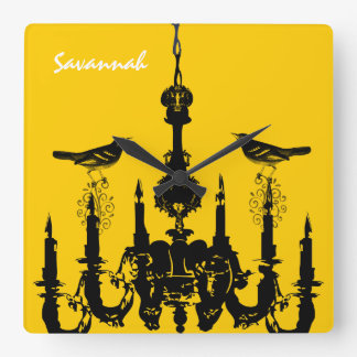 Personalized Bird Mustard Yellow Chandelier Clock