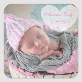 Personalized Birth Announcement Baby Photo Sticker