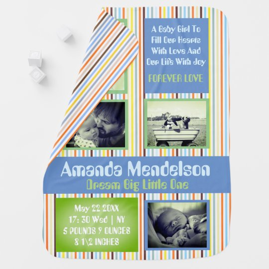 Personalized birth announcement baby stroller blankets