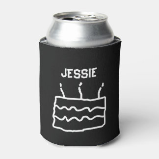 Personalized Birthday Black White Can Cooler