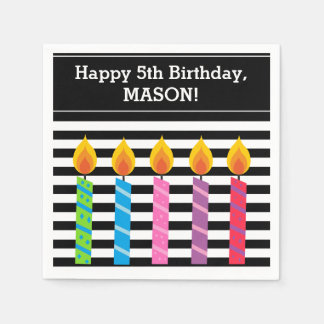 Personalized Birthday Candles Paper Napkins