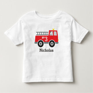 Personalized Birthday Fire Truck Toddler T-shirt