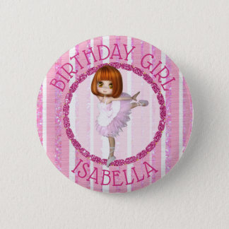 Personalized  Birthday Girl Ballerina Pink Button