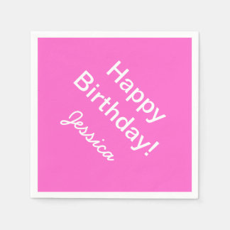 Personalized birthday napkins in custom colors paper napkins