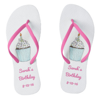 Personalized Birthday Party Cake Cupcake Flip Flop