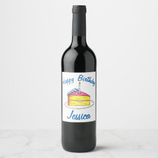 Personalized Birthday Party Layer Cake Slice Favor Wine Label