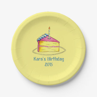 Personalized Birthday Party Yellow Cake Slice Bday Paper Plate