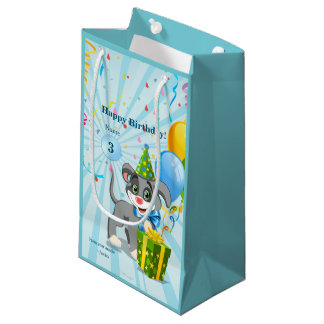 Personalized Birthday Puppy Cartoon Small Gift Bag