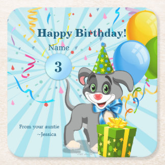 Personalized Birthday Puppy Cartoon Square Paper Coaster