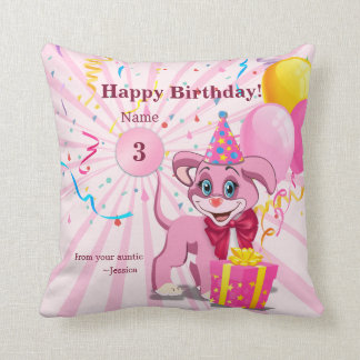 Personalized Birthday Puppy Cartoon Throw Pillow
