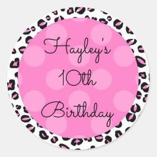 Personalized Birthday Sticker, Pink Animal Print Round Sticker
