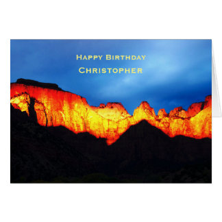 Personalized Birthday Wishes, Glowing Zion Sunrise Card