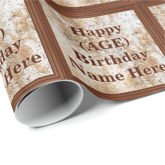 Personalized Birthday Wrapping Paper His AGE, NAME
